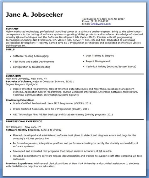 Resume Template Quality by Quality Engineer Resume Template Creative Resume Design
