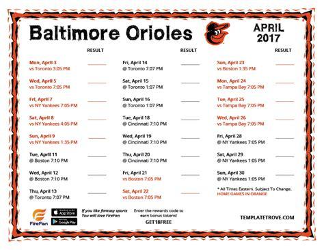 Orioles Printable Schedule