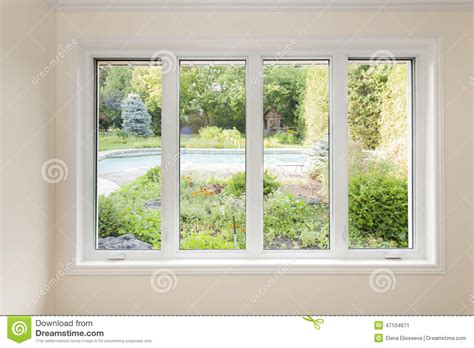 Backyard Window by Window With View Of Summer Backyard Stock Photo Image