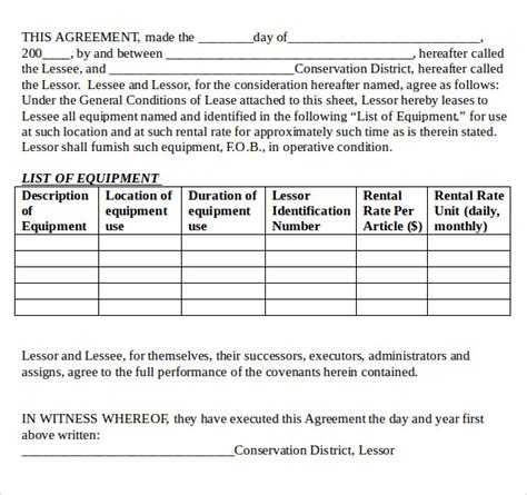 equipment lease agreement template sle equipment lease agreement 11 free documents in