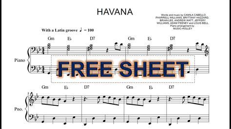 tutorial piano havana camila cabello havana easy piano sheet youtube