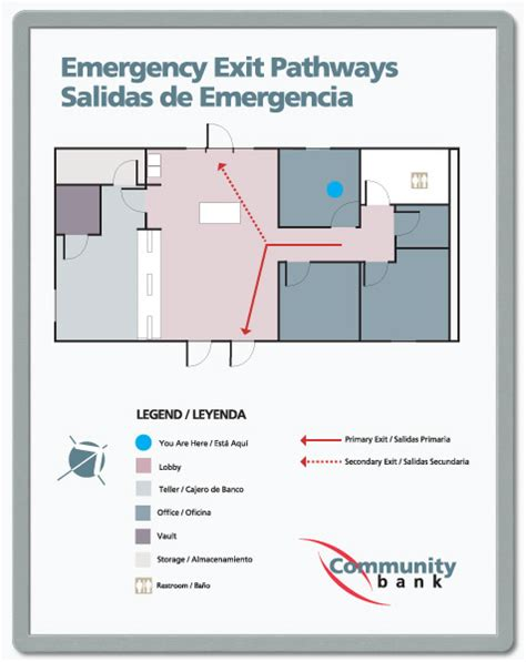 emergency exit floor plan floor plan signs you design and print in snap frames