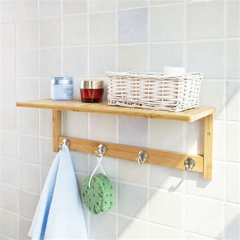 bamboo bathroom shelf sobuy bamboo wall shelf coat rack bathroom shelf rack