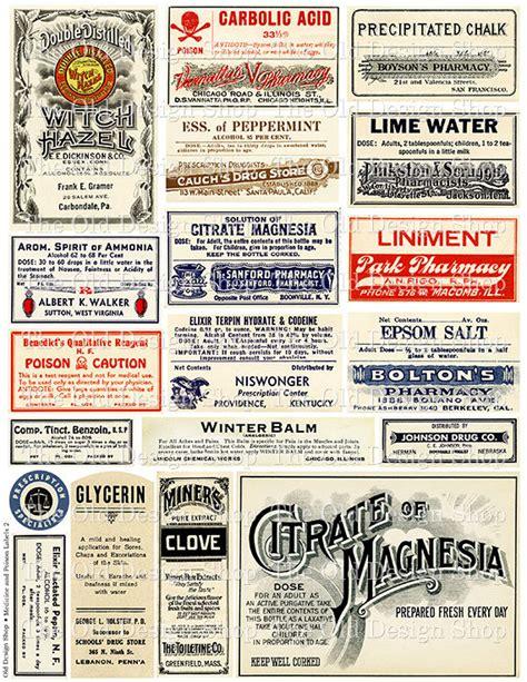 Make Your Own Artwork For Home Decor vintage medical pharmacy poison labels set 2 printable digital