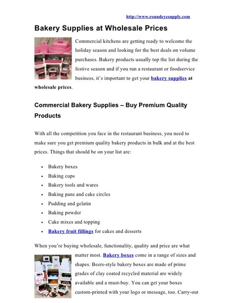 Bulk Prices Bakery Supplies At Wholesale Prices