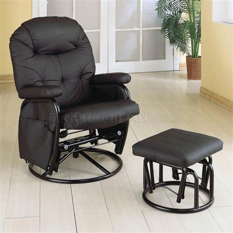 black letherette modern swivel glider recliner chair w ottoman