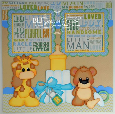 Baby Shower Scrapbook Pages by Blj Studio Boy Baby Shower Scrapbook Pages