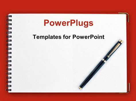 powerpoint template notebook powerpoint template black pen on spiral notebook with