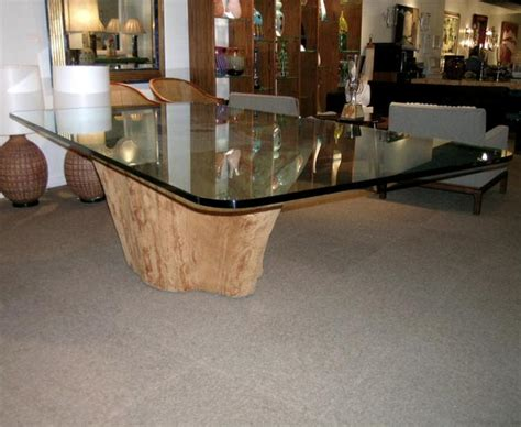 dining table with tree trunk base by michael taylor at 1stdibs