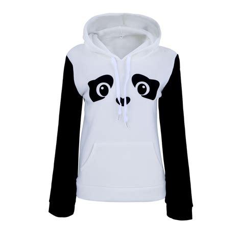 Panda White Sweater panda print womens hoodie sweatshirt white hooded fleece