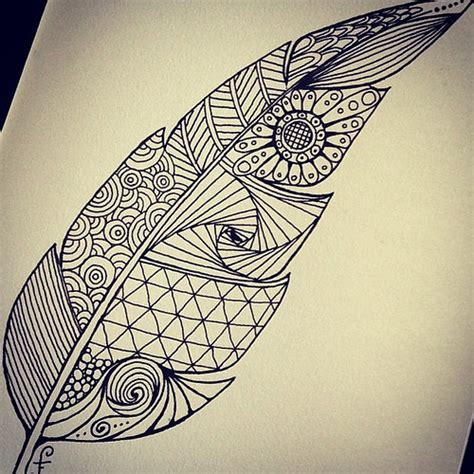 zentangle feather drawn a couple of days ago over