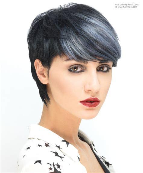 dark hair with grey streaks unbelievable short black hair with silver highlights pixie