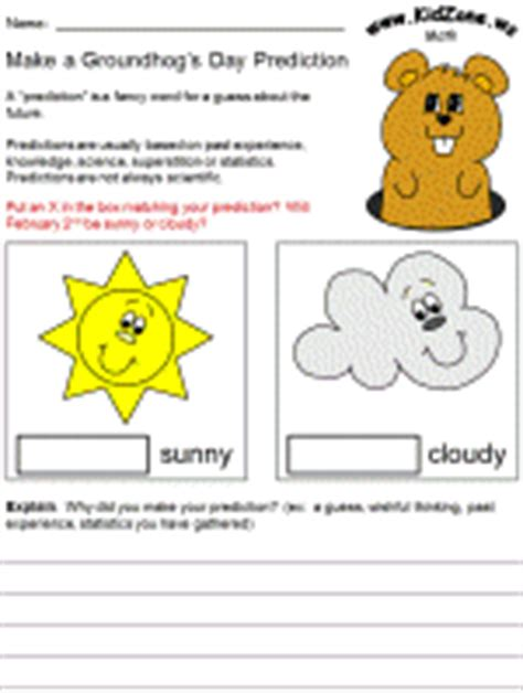 groundhog day prediction predicting weather worksheet worksheets for school