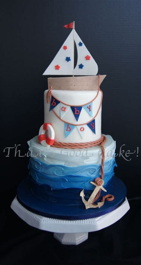 Nautical Baby Shower for a Boy. All fondant cakes with modeling chocolate boat, sail, bunting