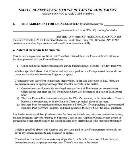 retainer agreement template retainer agreement 8 free sles exles format