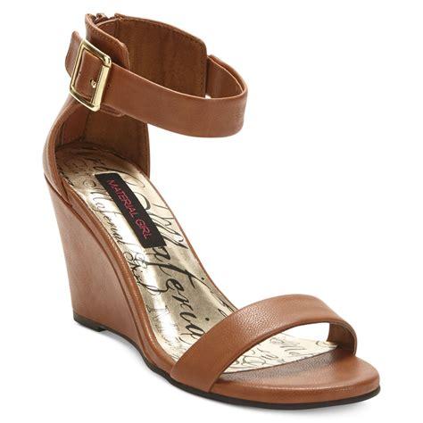dress wedge sandals material wedge dress sandals in brown cognac