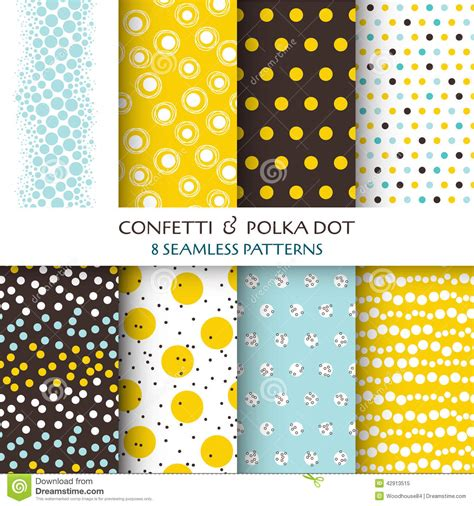 dot pattern vector pack free 8 seamless patterns confetti and polka dot stock vector