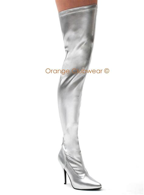 pleaser 5 quot heel thigh high s silver boots ebay