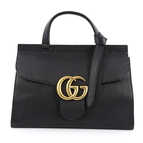 buy gucci marmont top handle bag leather small black 1888702 trendlee