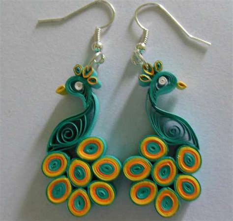Pattern For Paper Jewelry | multi color paper quilling peacock earring designs 2015