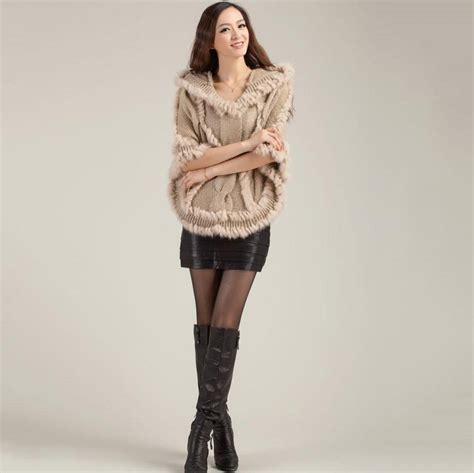 real knitting fashion real knitting rabbit fur poncho with wrap
