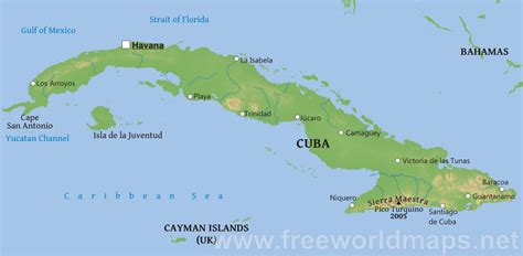 physical map of cuba cuba physical map