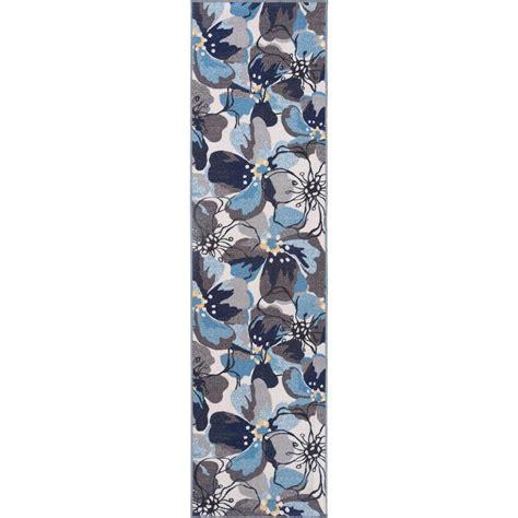 non skid runner rug modern large floral non slip non skid gray blue area rug runner 2 ft x 7 ft 505 gray 2x7