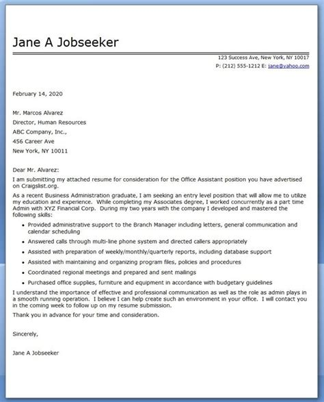 exle of a cover letter for assistant 10 ideas about office assistant on