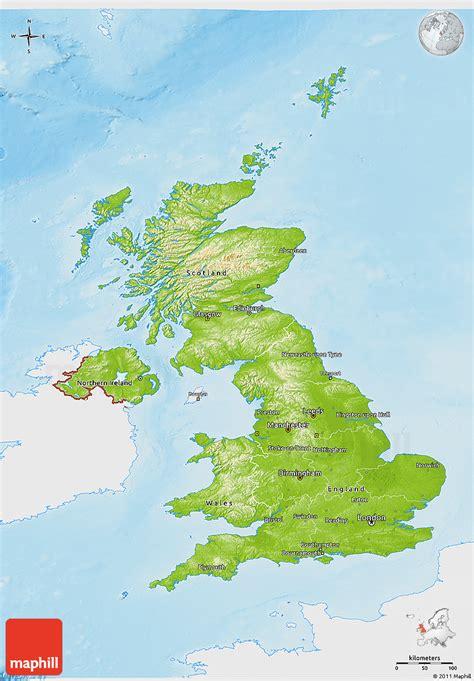 Kintakun Singel United Kingdom physical 3d map of united kingdom single color outside