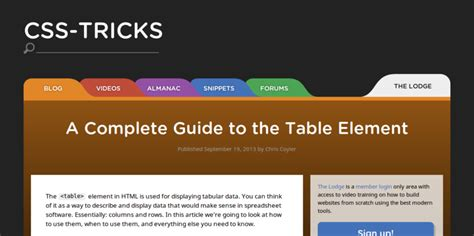 tutorial css table 5 tutorials for building your own css3 table layouts