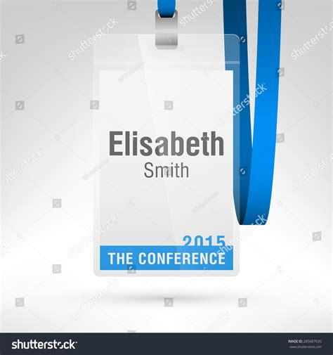 conference badge name tag placeholder blank stock vector