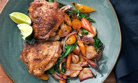 Roasted Root Vegetables Epicurious - the secret to instantly addictive spice rubbed chicken with sweetly glazed vegetables