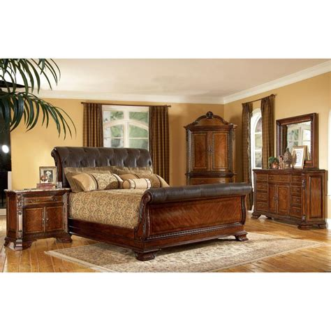 king size  piece wood leather sleigh bedroom set  overstockcom shopping big