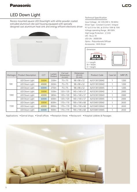 Lu Led Panasonic panasonic catalogue pricelist of led luminaires