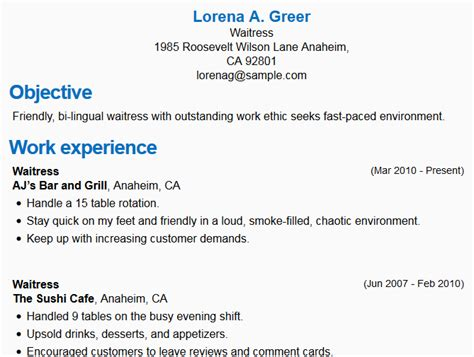 How To Write A Resume For A Waitress Position by Waitress Resume Sle Images Frompo