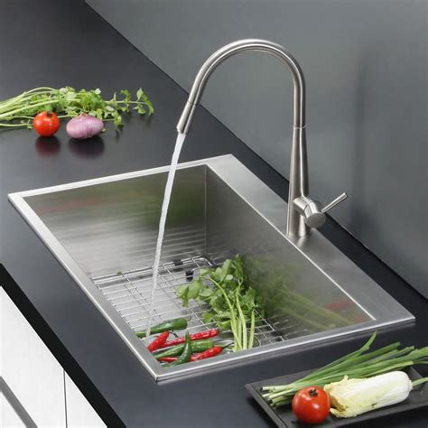 Overmount Kitchen Sink Ruvati Overmount 16 25 Inch Kitchen Sink Single Bowl Contemporary Kitchen Sinks By