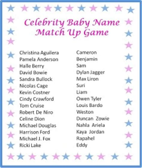 printable match up games use this free printable celebrity baby name match up game