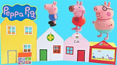 peppa pig doll house videos 6 in 1 peppa pig world of playsets peppa s cafe toyshop doll house veterinarian