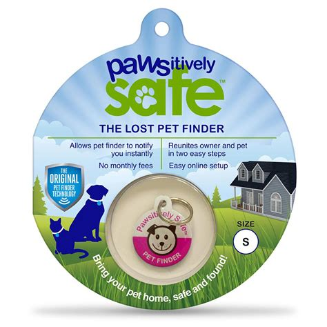pawsitively safe small pink lost pet finder tag for dogs