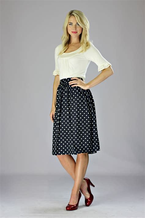 modest chiffon skirt in navy polka dot