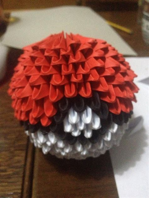 Origami Pokeball - 3d origami pokeball by hayyelle on deviantart