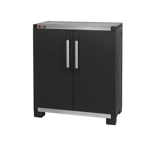 Keter Storage Cabinet Keter Wide Xl 35 In X 39 In Freestanding Plastic Utility Base Cabinet In Black 217875 The