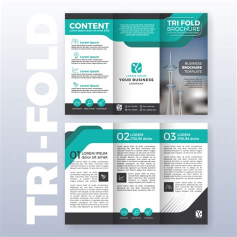 business tri fold brochure template design with turquoise