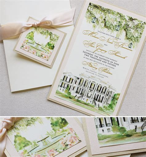 painted watercolor wedding invitations b custom venue illustration wedding
