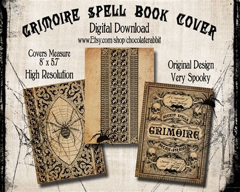 Spell Book Cover Halloween Witch Digital Download Printable Lockhart Label Template