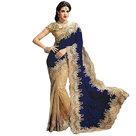 New Sari Sari Original Az shree designer sarees s bedeck blue georgette on net saree