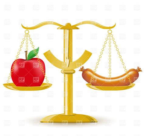 food comparison comparison of food on scales diet or obesity royalty free vector clip image