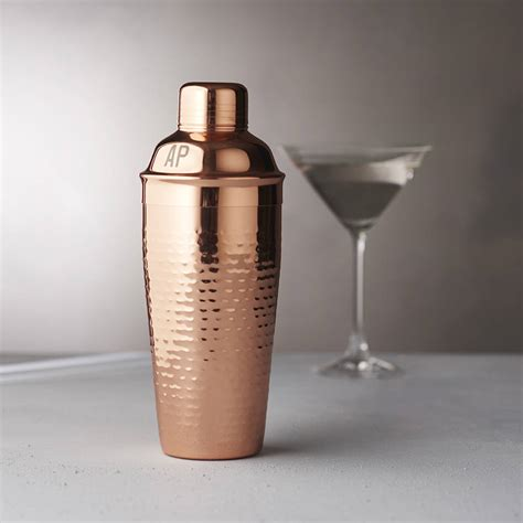 martini shaker personalised initials hammered copper cocktail shaker by