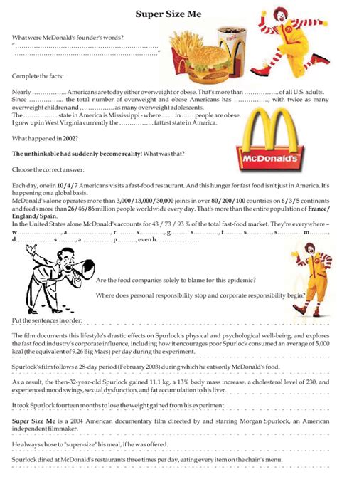 Supersize Me Worksheet Answers by Worksheet Size Me