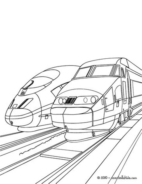 coloring page speed train high speed trains sideline parked in the train station